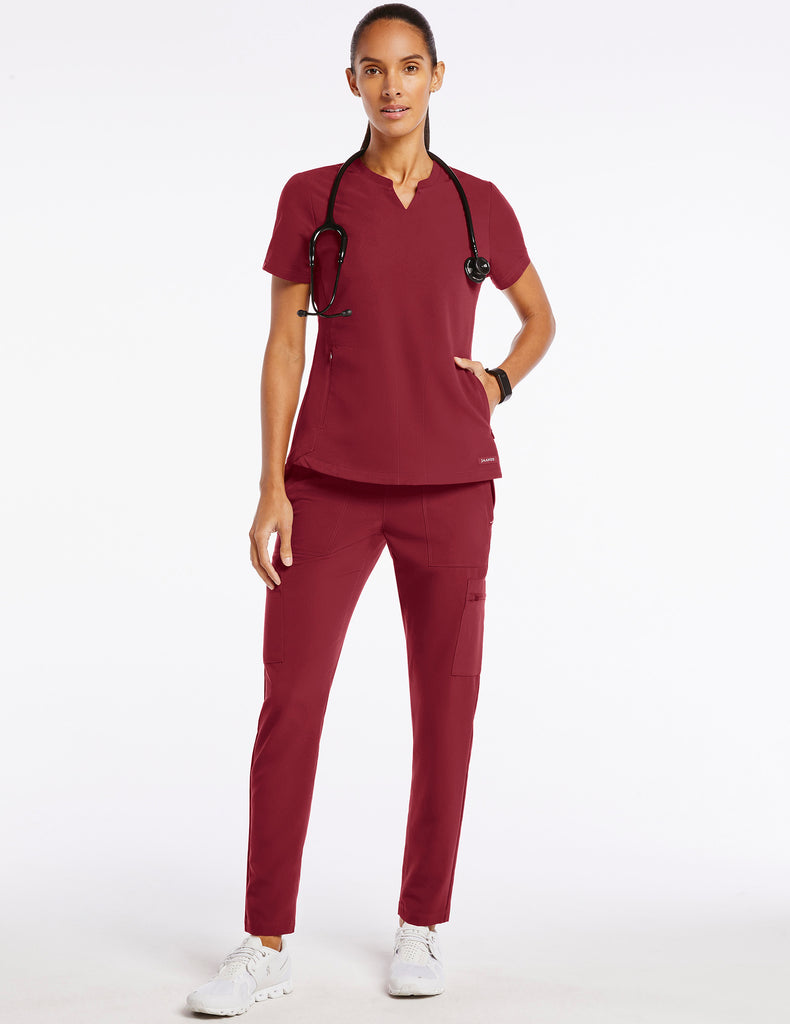 Jaanuu | Women's Crew Step Hem Top - Wine - 2