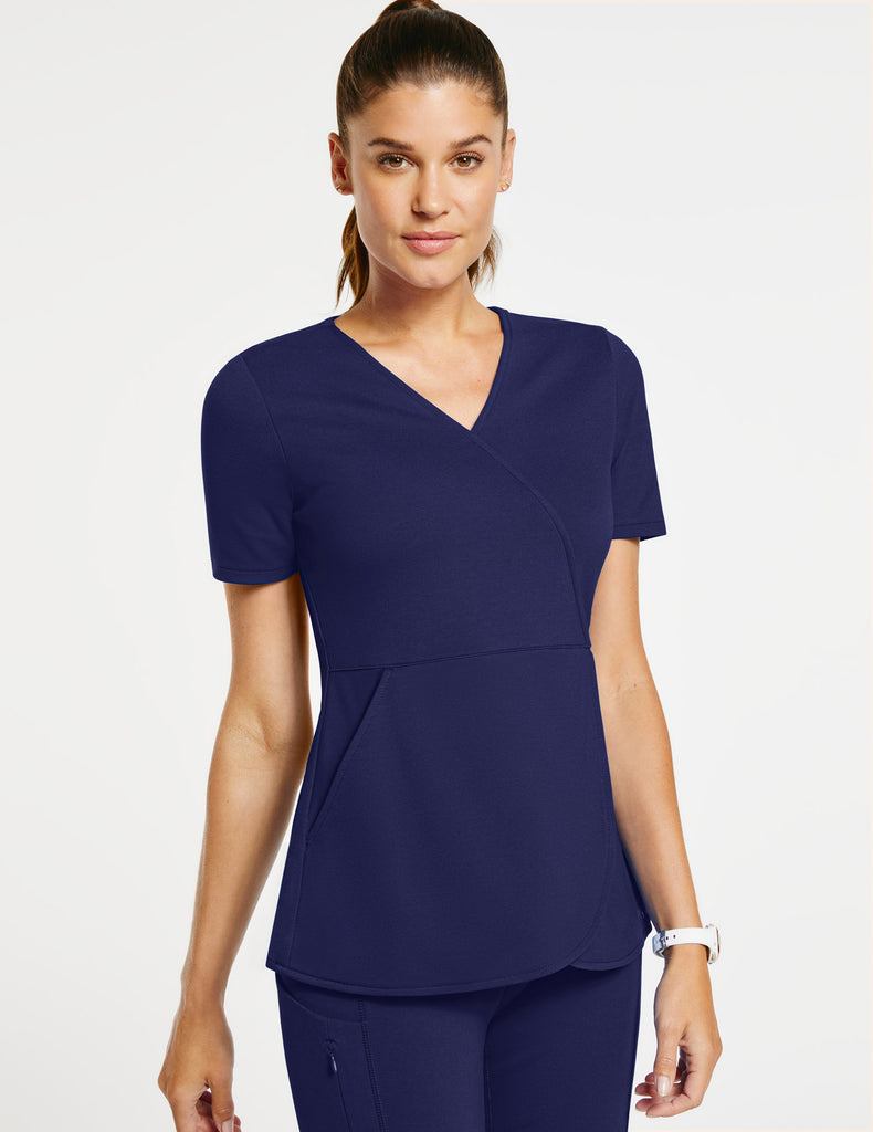 Jaanuu | Women's Mock-Wrap Tulip Top - Navy - 1
