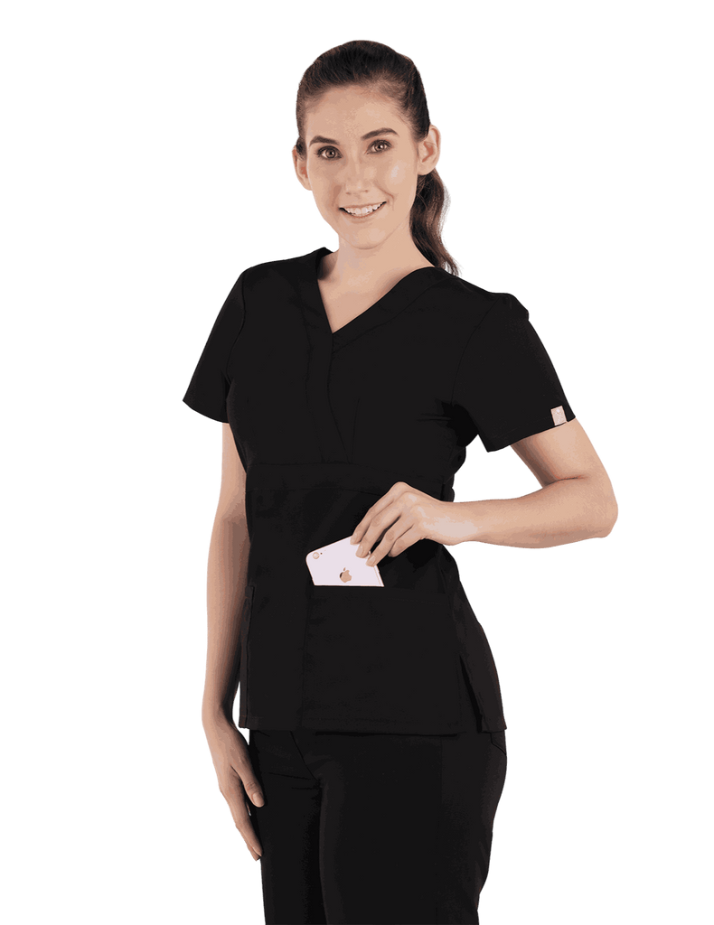 Life Threads | Women's Classic Mock Wrap Scrub Top - Black - 3
