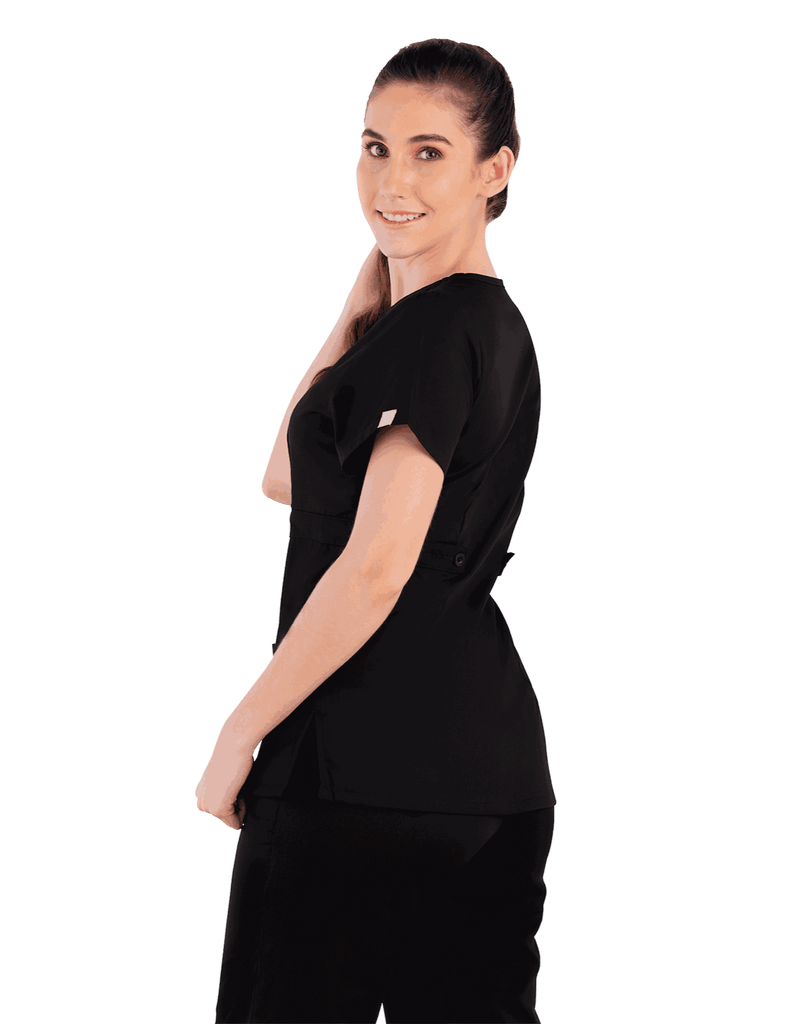 Life Threads | Women's Classic Mock Wrap Scrub Top - Black - 5
