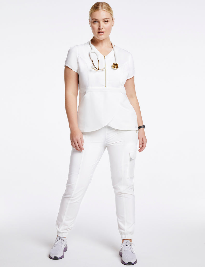 Jaanuu | Women's Essential Gold Zip Jogger - White - 2 - Curve