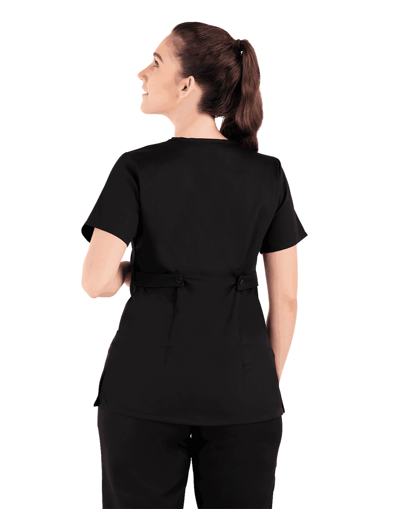 Life Threads | Women's Classic Mock Wrap Scrub Top - Black - 6