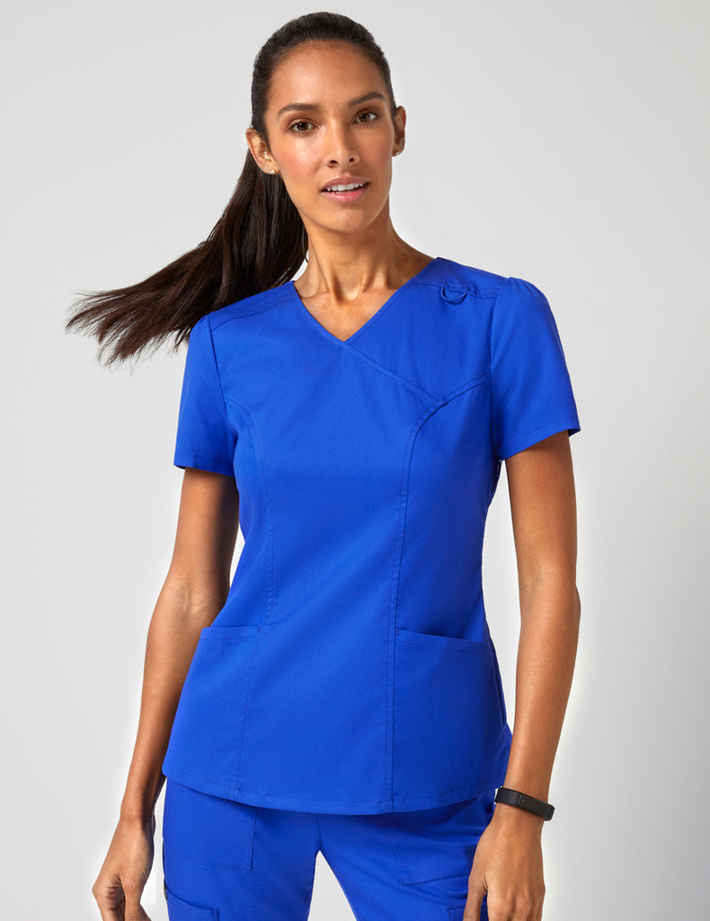Jaanuu | Mock Wrap Neck Top - Royal Blue - 1