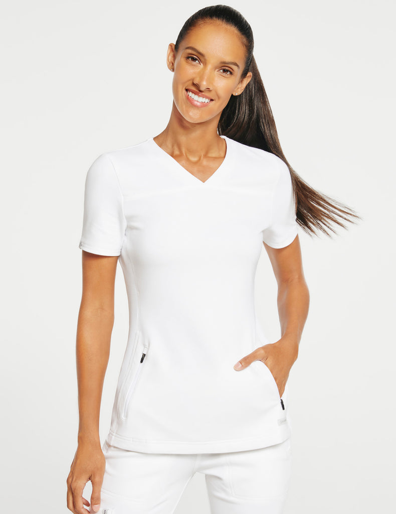 Jaanuu | Women's 2-Pocket Side-Rib Top - White - 1