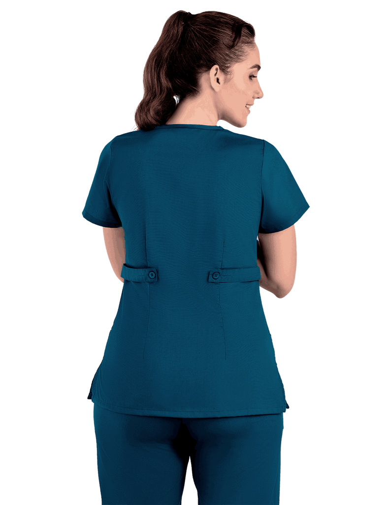 Life Threads | Women's Classic Mock Wrap Scrub Top - Caribbean Blue - 7