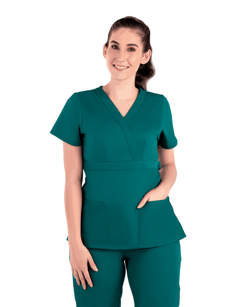 Life Threads | Women's Classic Mock Wrap Scrub Top - Hunter Green - 5