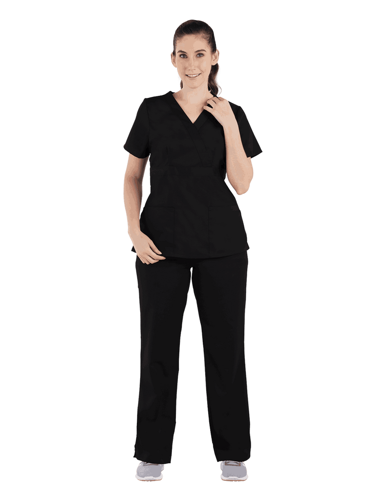 Life Threads | Women's Classic Mock Wrap Scrub Top - Black - 4