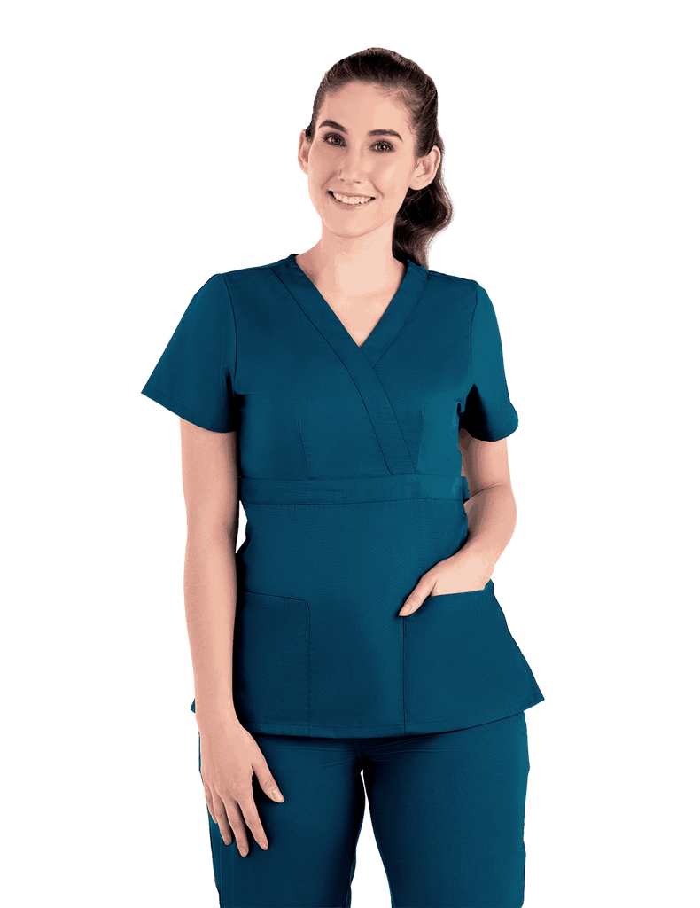 Life Threads | Women's Classic Mock Wrap Scrub Top - Caribbean Blue - 5
