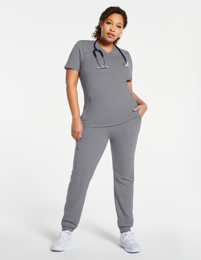 Jaanuu | Women's 2-Pocket Side-Rib Top - Gray - 2 - Curve