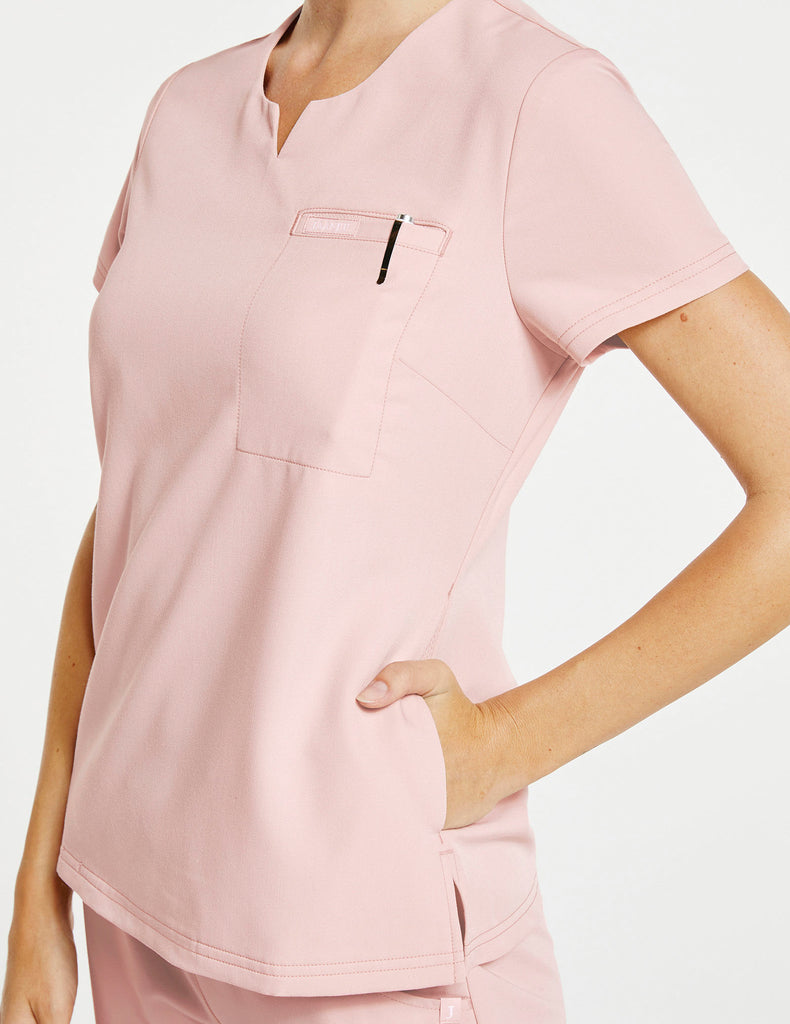 Jaanuu | Women's 3-Pocket Notched Top - Blushing Pink - 3