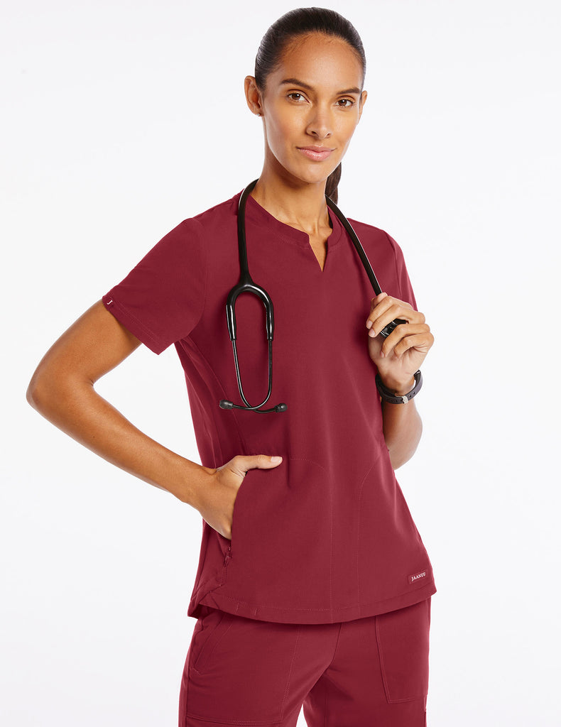 Jaanuu | Women's Crew Step Hem Top - Wine - 1