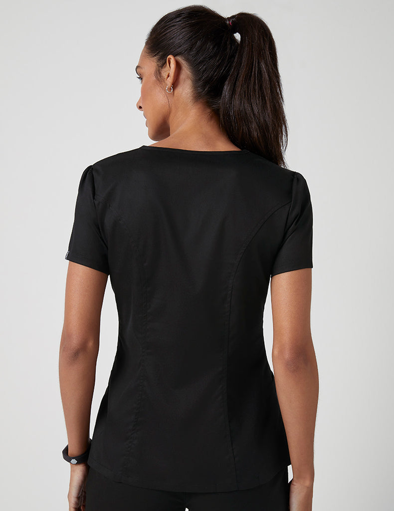 Jaanuu | Mock Wrap Neck Top - Black - 4