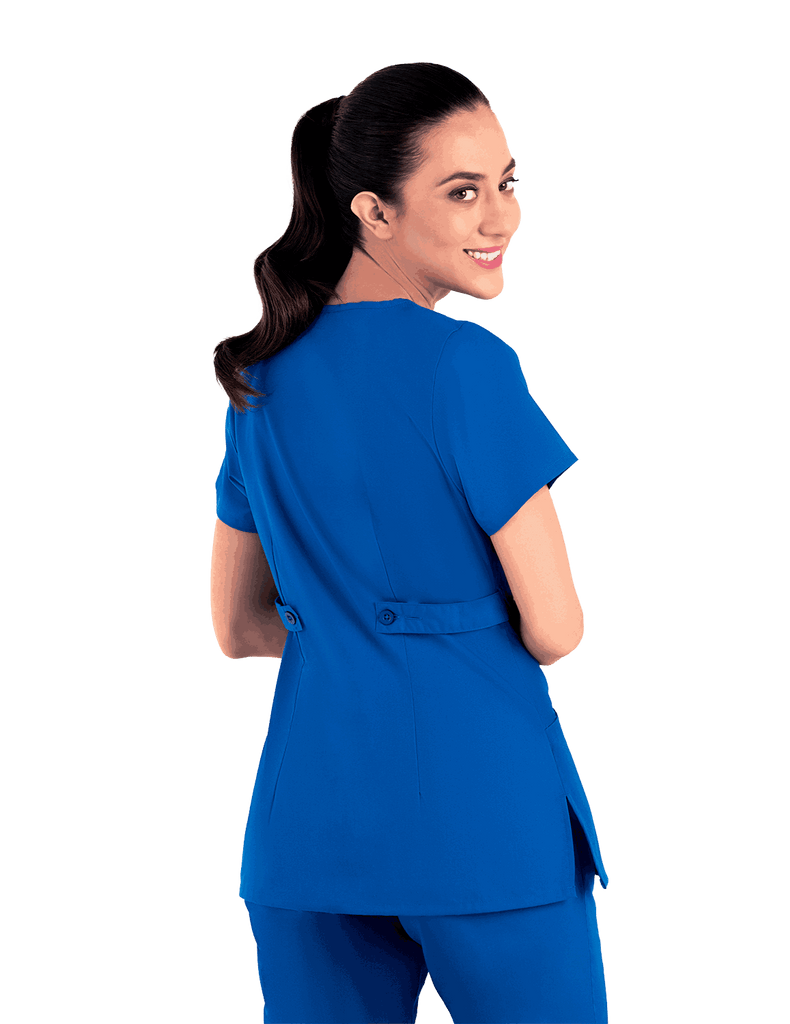 Life Threads | Women's Classic Mock Wrap Scrub Top - Royal Blue - 6
