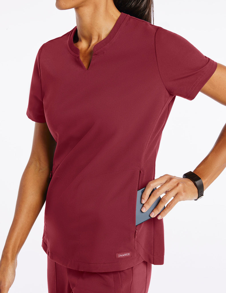 Jaanuu | Women's Crew Step Hem Top - Wine - 3