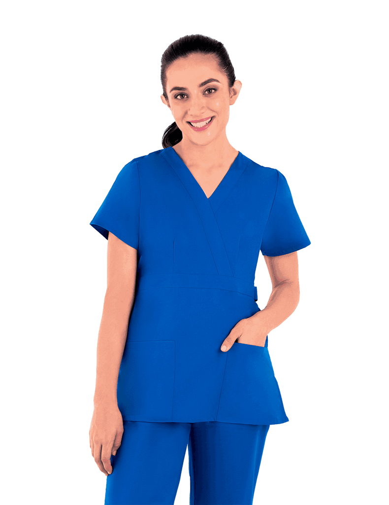 Life Threads | Women's Classic Mock Wrap Scrub Top - Royal Blue - 4