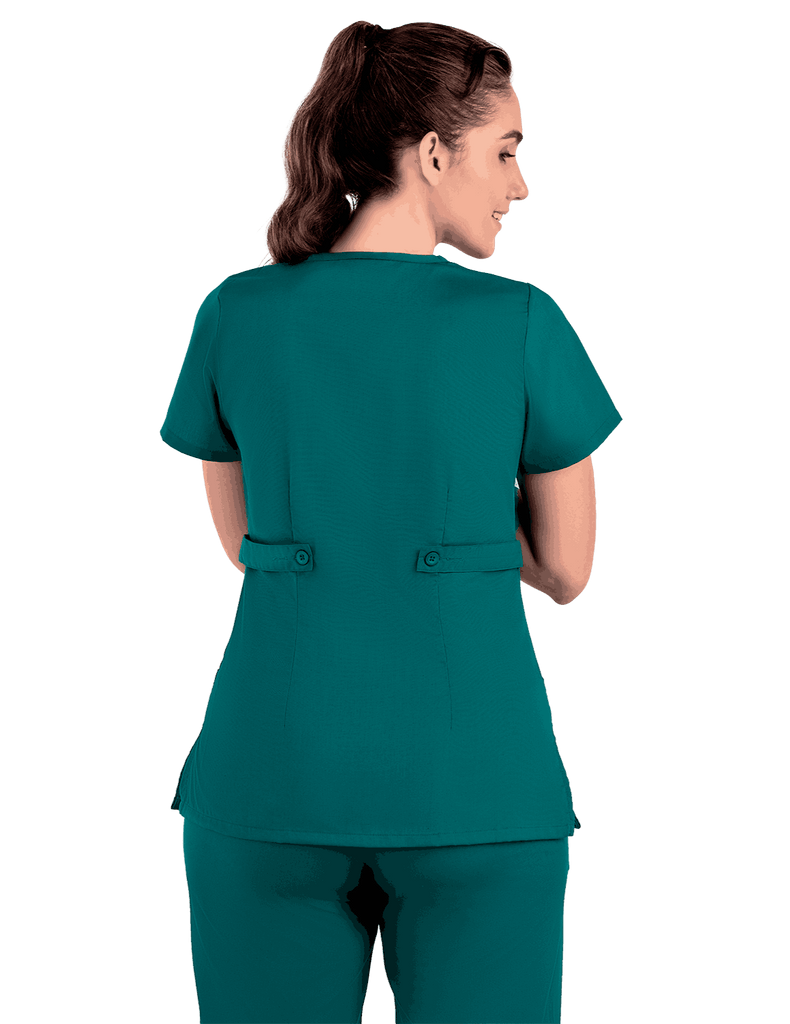 Life Threads | Women's Classic Mock Wrap Scrub Top - Hunter Green - 7