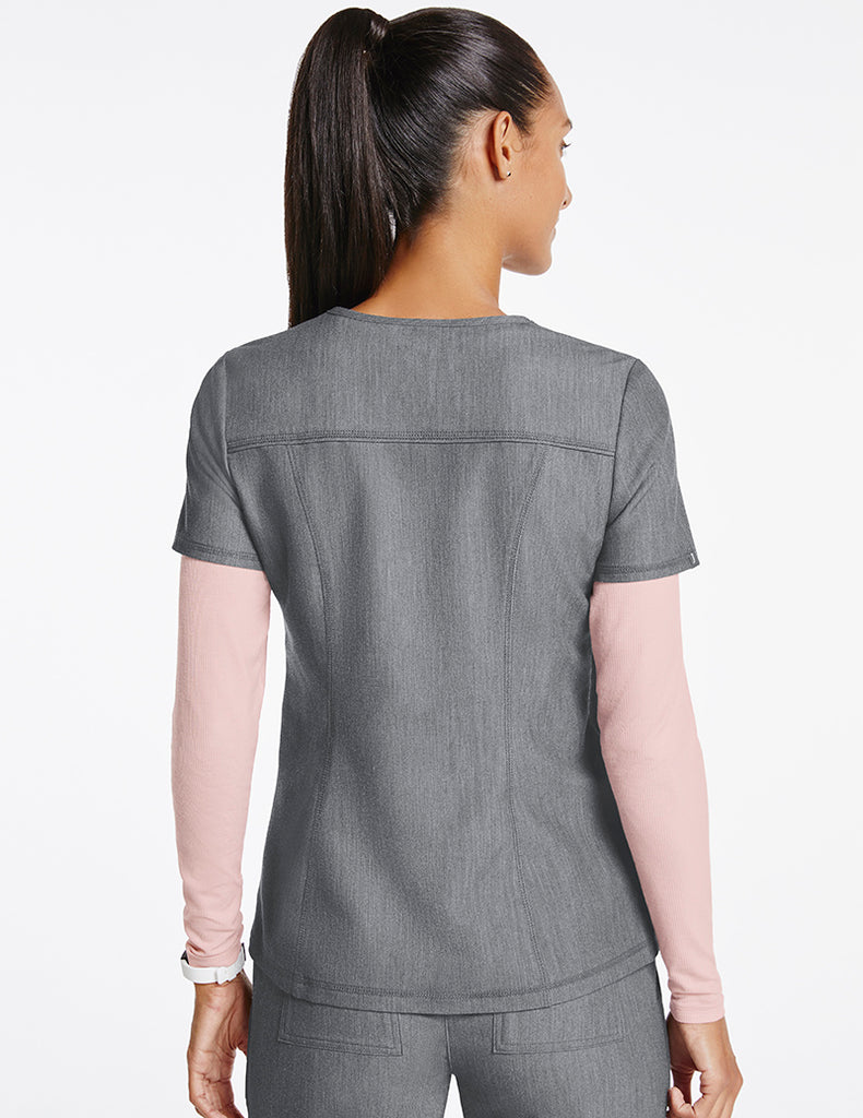 Jaanuu | Women's 4-Pocket D-Ring Top - Heather Gray - 4