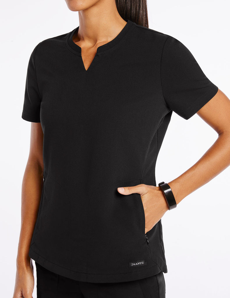 Jaanuu | Women's Crew Step Hem Top - Black - 3