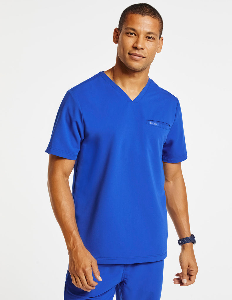 Jaanuu | Men's 4-Pocket V-Neck Top - Royal Blue - 1