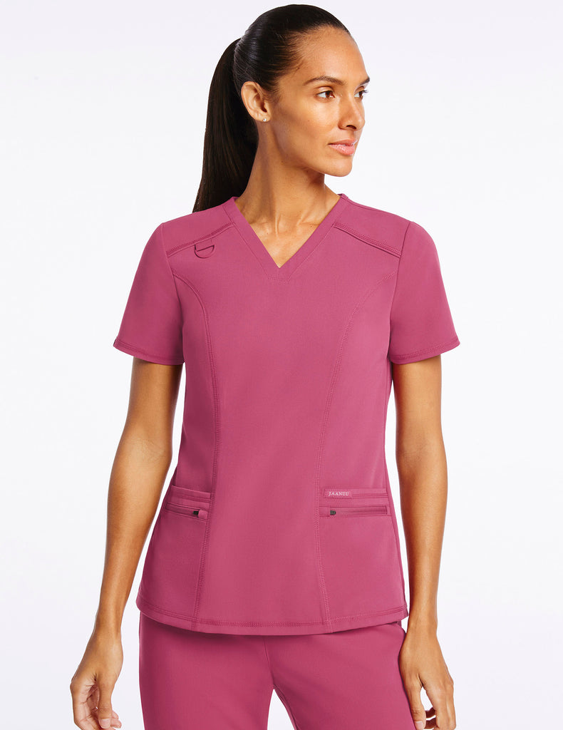 Jaanuu | Women's 4-Pocket D-Ring Top - Warm Berry - 1