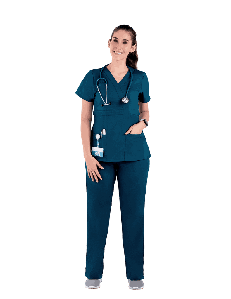 Life Threads | Women's Classic Mock Wrap Scrub Top - Caribbean Blue - 2