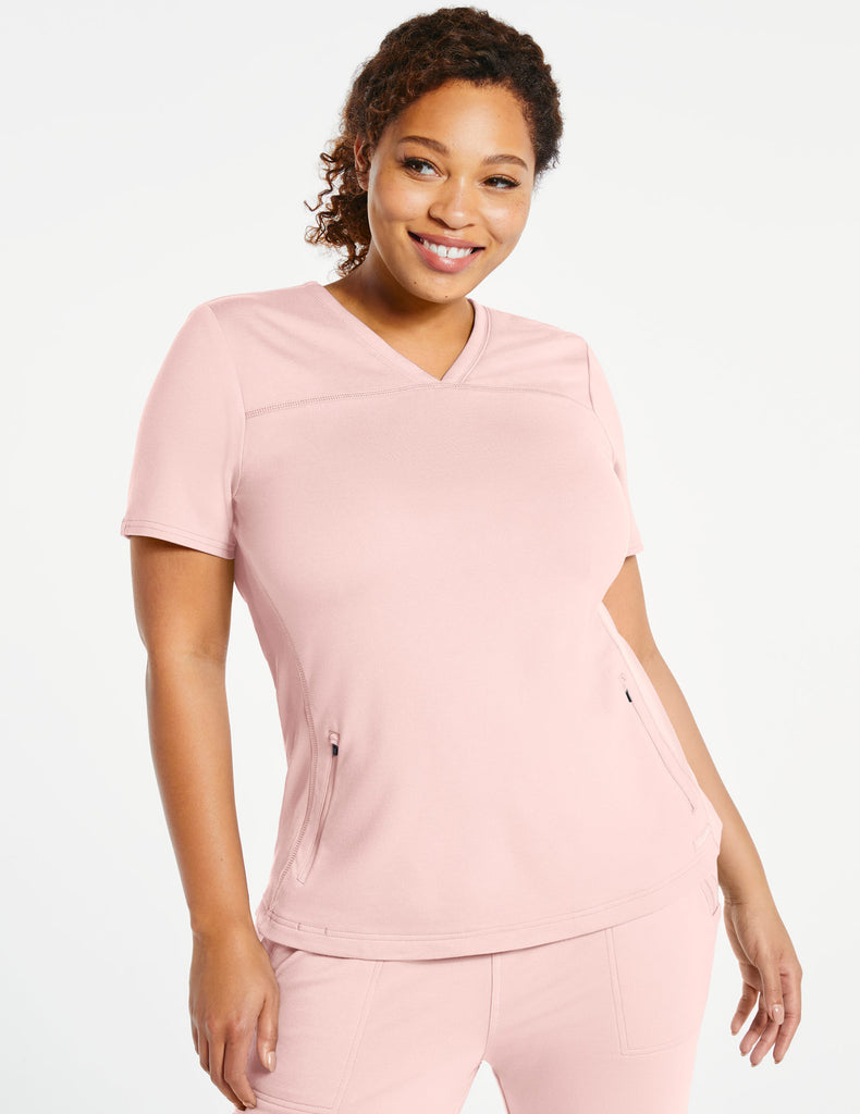 Jaanuu | Women's 2-Pocket Side-Rib Top - Blushing Pink - 1 - Curve