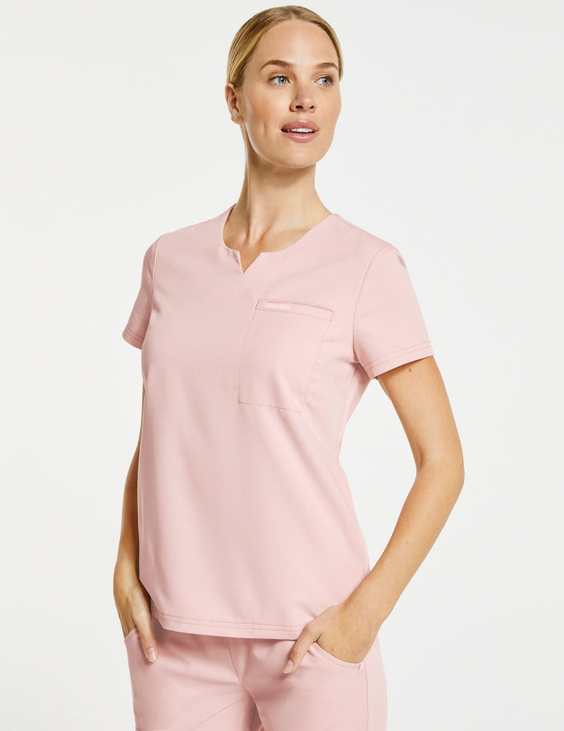 Jaanuu | Women's 3-Pocket Notched Top - Blushing Pink - 1
