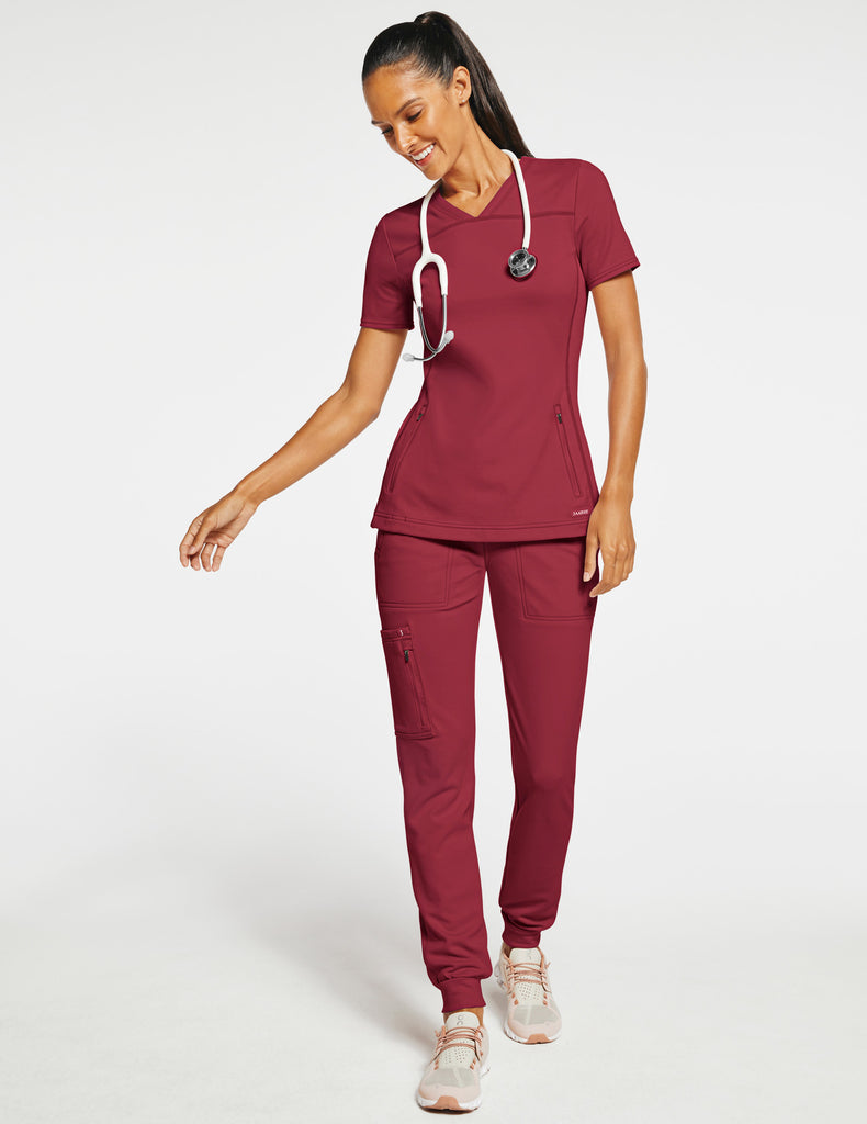 Jaanuu | Women's 2-Pocket Side-Rib Top - Wine - 2