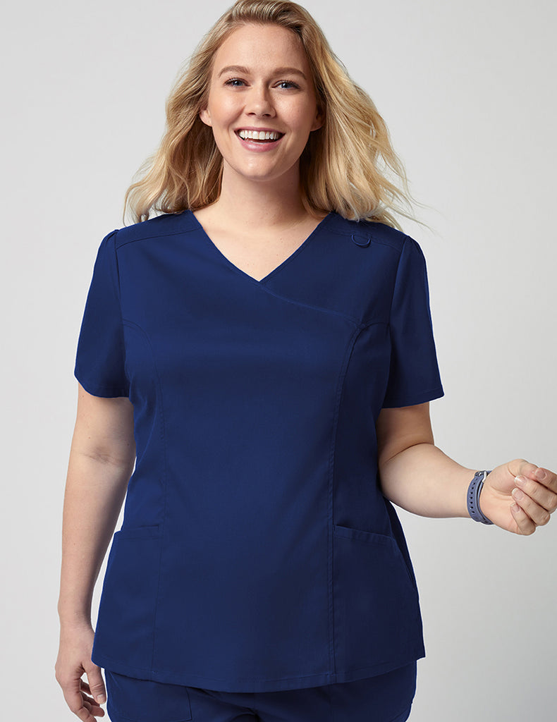 Jaanuu | Mock Wrap Neck Top - Estate Navy Blue - 1 - Curve
