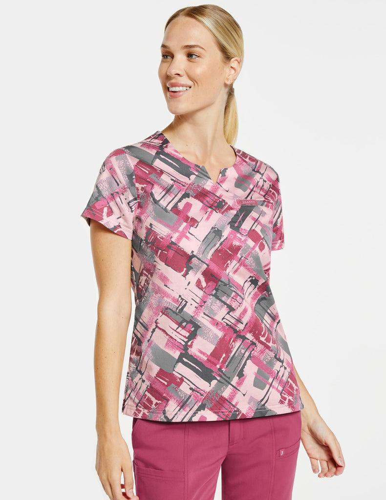 Jaanuu | Women's 3-Pocket Printed Notched Top - Berry Tiles - 1