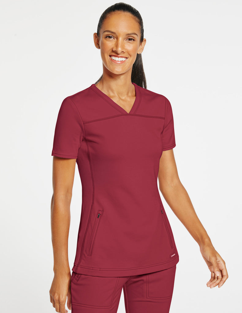 Jaanuu | Women's 2-Pocket Side-Rib Top - Wine - 1