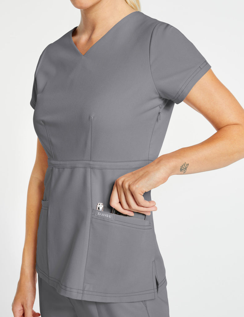 Jaanuu | Women's Signature Peplum Top - Gray - 3