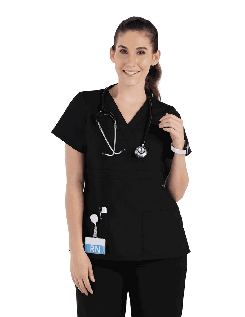 Life Threads | Women's Classic Mock Wrap Scrub Top - Black - 1