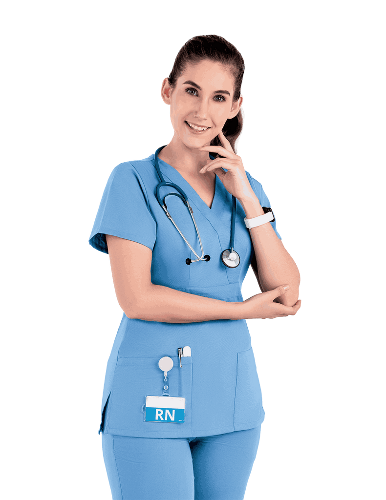 Life Threads | Women's Classic Mock Wrap Scrub Top - Ceil Blue - 1