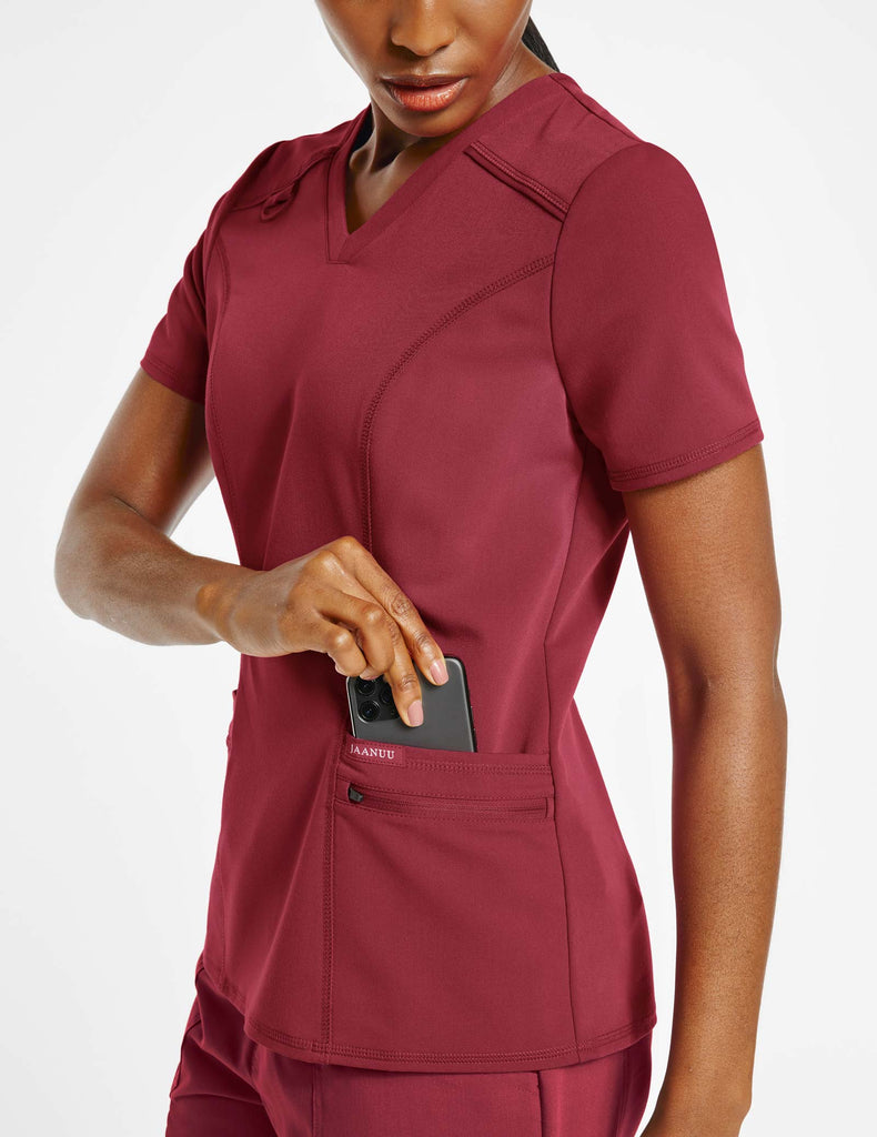 Jaanuu | Women's 4-Pocket D-Ring Top - Wine - 3