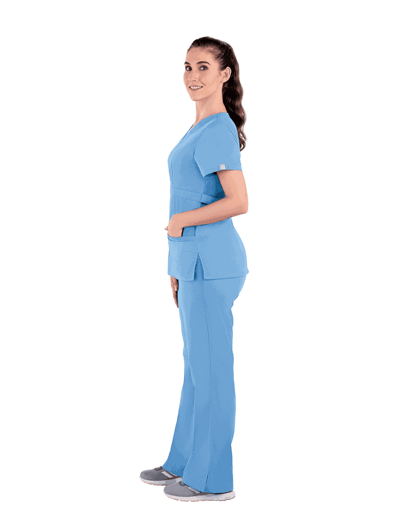 Life Threads | Women's Classic Mock Wrap Scrub Top - Ceil Blue - 4