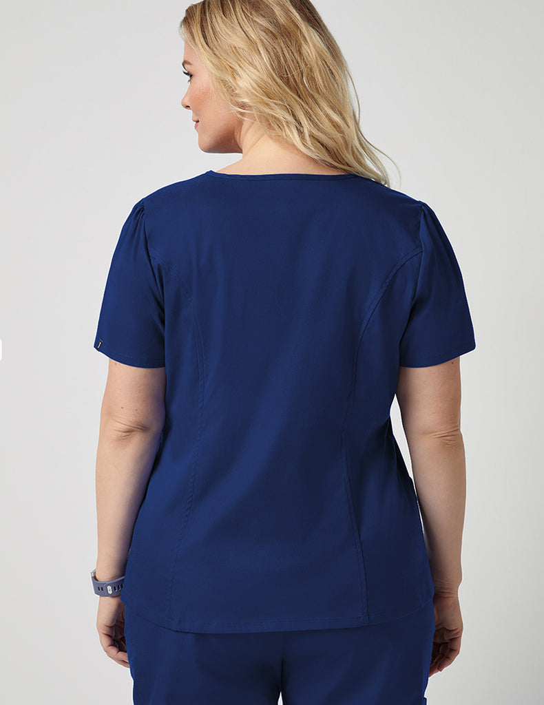 Jaanuu | Mock Wrap Neck Top - Estate Navy Blue - 3 - Curve
