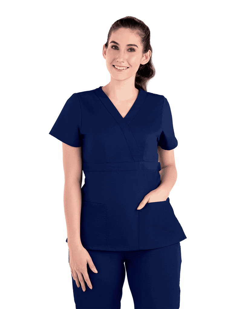Life Threads | Women's Classic Mock Wrap Scrub Top - Navy Blue - 5
