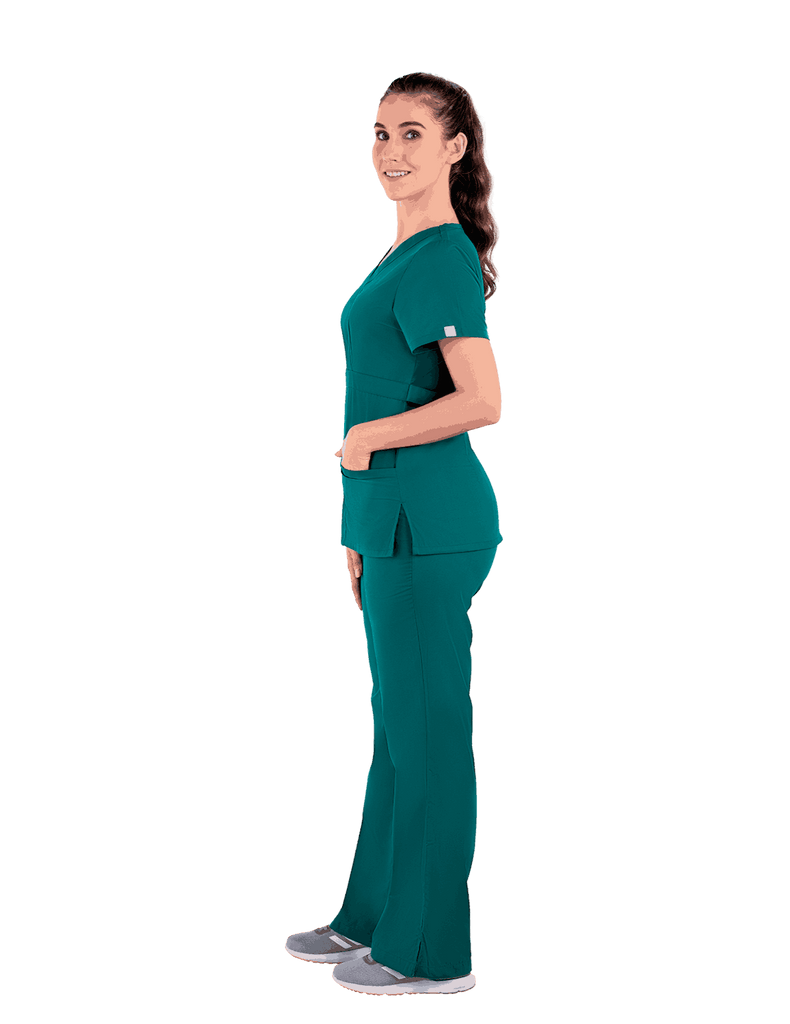 Life Threads | Women's Classic Mock Wrap Scrub Top - Hunter Green - 4