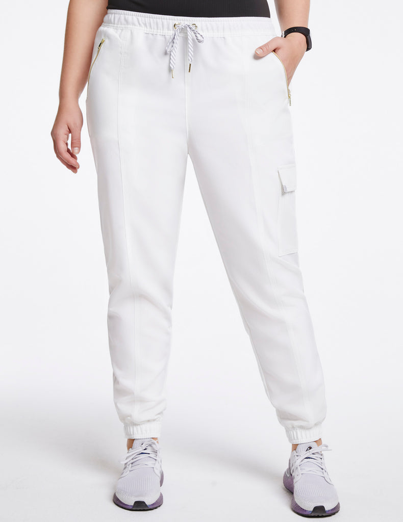 Jaanuu | Women's Essential Gold Zip Jogger - White - 1 - Curve