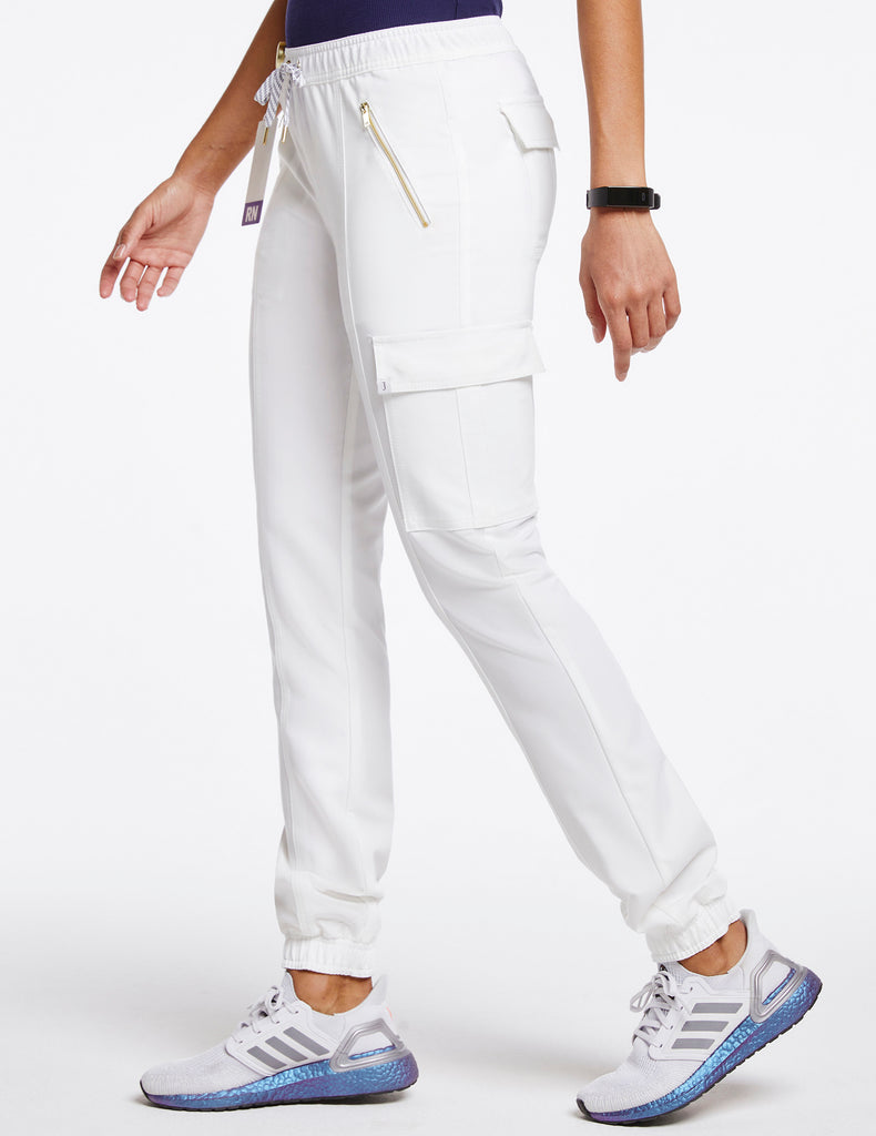 Jaanuu | Women's Essential Gold Zip Jogger - White - 3