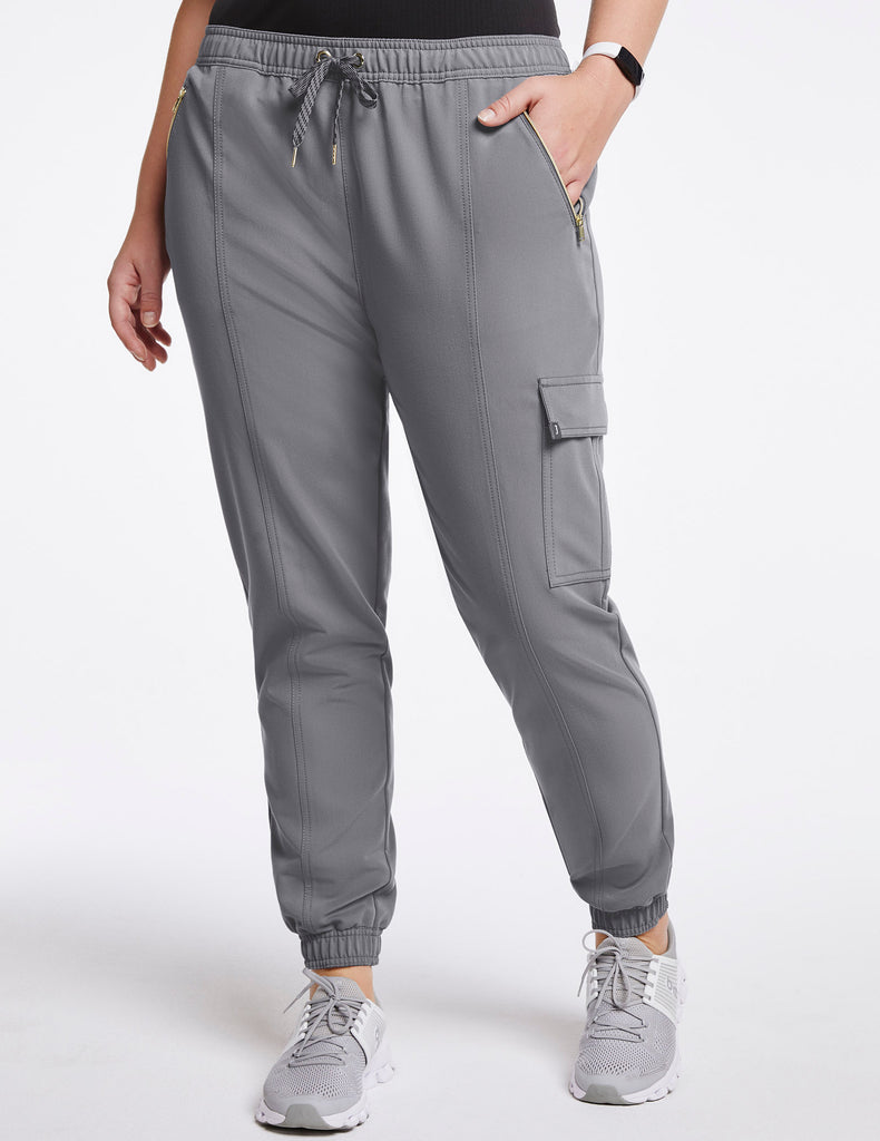 Jaanuu | Women's Essential Gold Zip Jogger - Gray - 1 - Curve