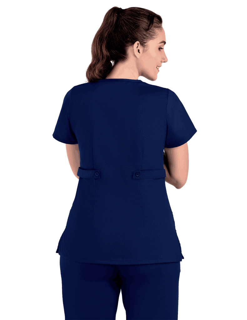 Life Threads | Women's Classic Mock Wrap Scrub Top - Navy Blue - 7