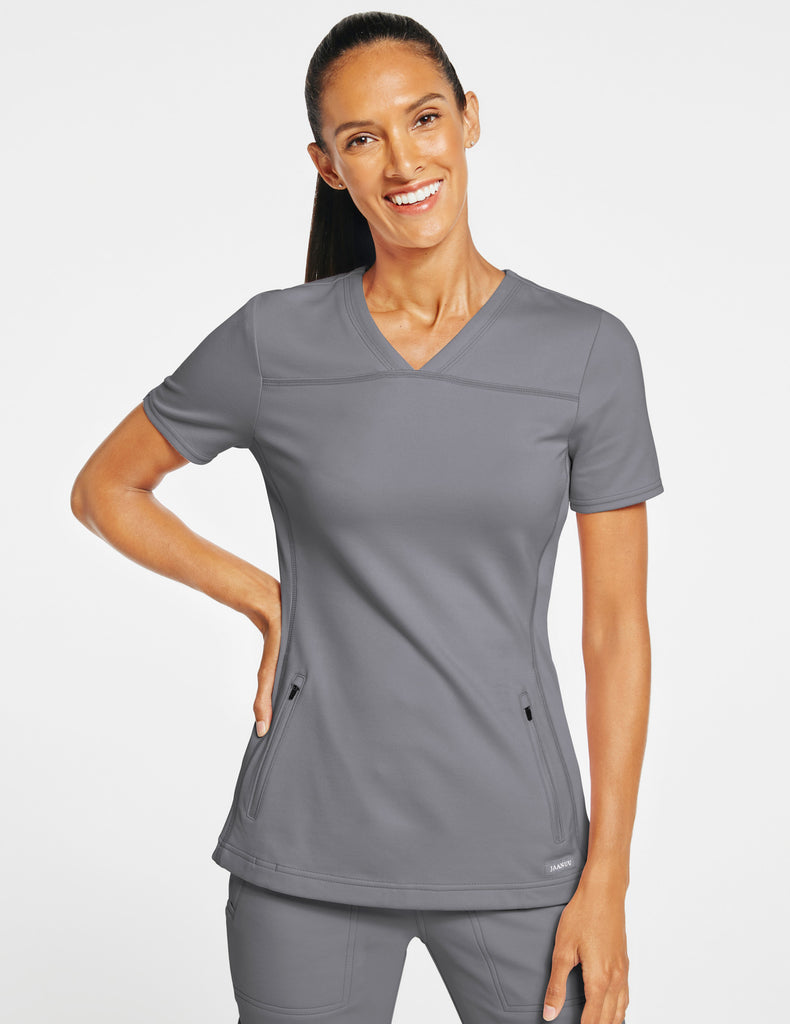 Jaanuu | Women's 2-Pocket Side-Rib Top - Gray - 1