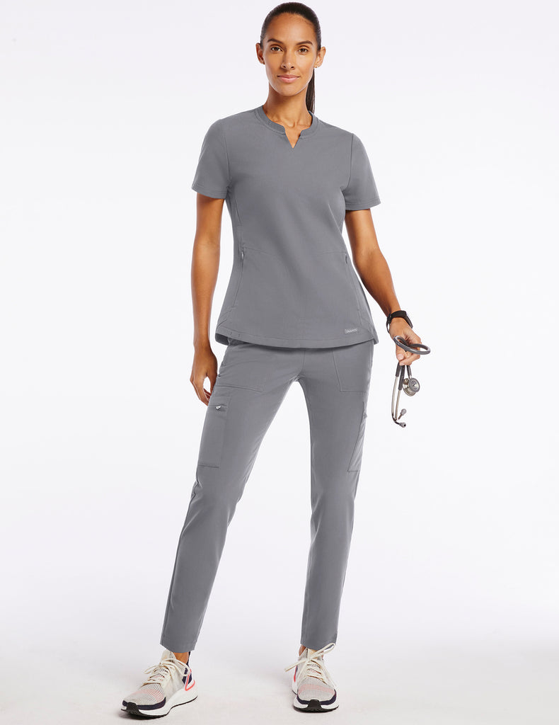 Jaanuu | Women's Crew Step Hem Top - Gray - 2