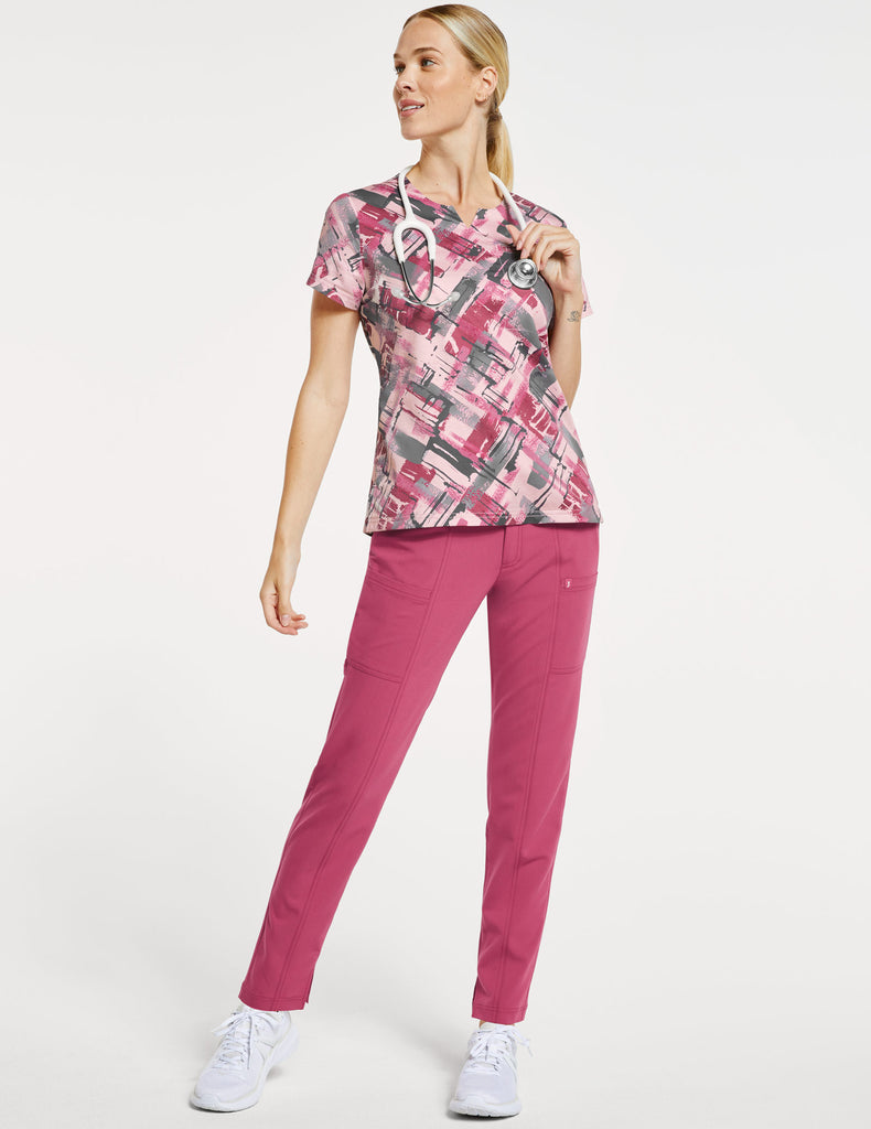 Jaanuu | Women's 3-Pocket Printed Notched Top - Berry Tiles - 2
