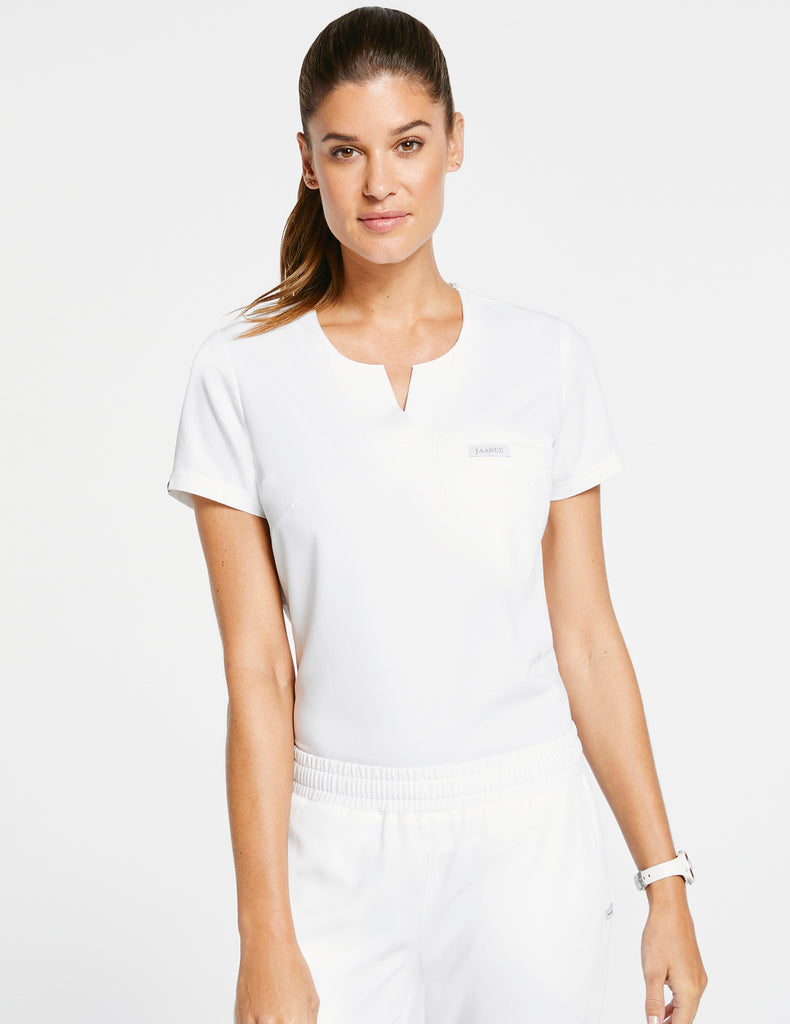 Jaanuu | Women's 1-Pocket Tuck-In Top - White - 1