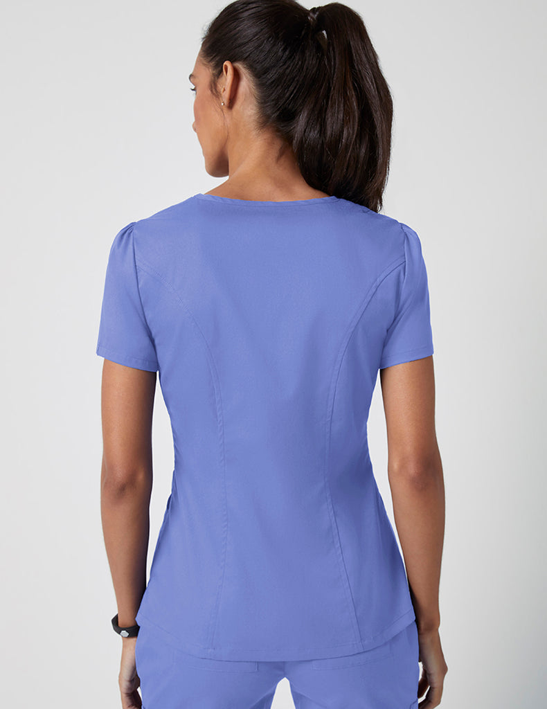 Jaanuu | Mock Wrap Neck Top - Ceil Blue - 4