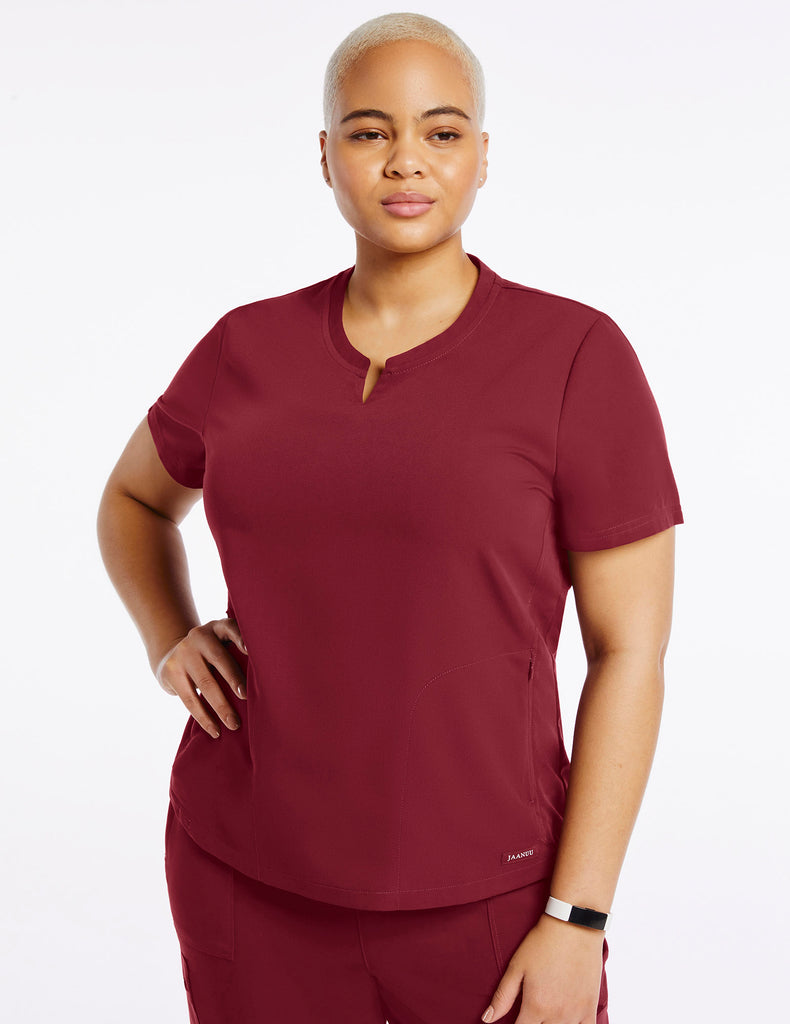 Jaanuu | Women's Crew Step Hem Top - Wine - 1 - Curve