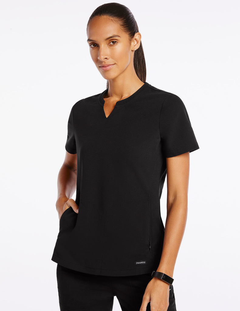 Jaanuu | Women's Crew Step Hem Top - Black - 1